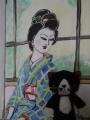 絵とスクラッチハチワレ猫の写真 (2)