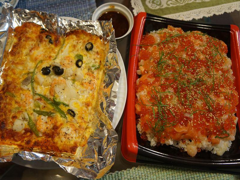 海鮮ちらし寿しとシーフードピザ