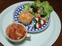 12/25 夕食 チキングラタンパイ包み、海老とブロッコリーのガーリック炒め、ピンチョス、野菜スープラビオリ入り