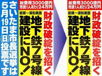 政策ポスター「地下鉄7号線建設にNO!」