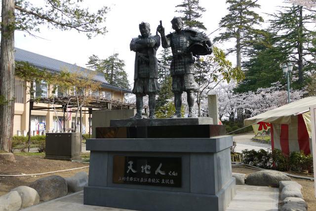 米沢 上杉神社 景勝と兼続銅像
