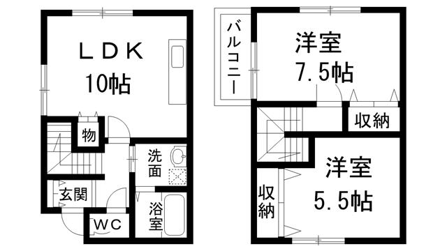 (2LDK)アムール井阪Bタイプ