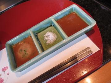 ステーキソースは、ポン酢、塩、味噌ダレ