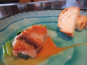 甘鯛と小松菜、生クリームと醤油のソースで