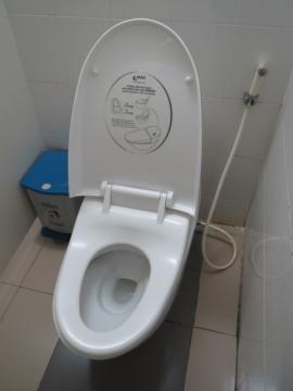 3-48 ラウンジのシイレ。公共の場はこんなでしたねー。洗浄便座はなくシャワーが。家族は困ってましたね~