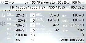 ニーノ君Lv150ステータス