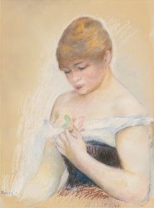 renoir JEUNE FEMME TENANT UNE FLEUR (PORTRAIT DE JEANNE SAMARY)