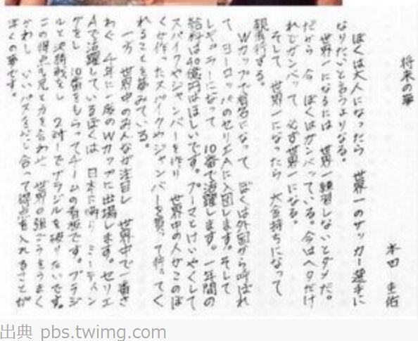 本田圭佑の文章