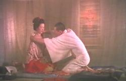 蚊帳の中でおれんの着物を脱がそうとする澄賢