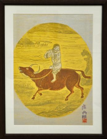 11【十牛図(六)騎牛帰家】 杉本 仁太郎