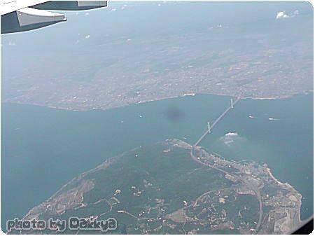 韓国旅行 飛行機の中から日本を撮影