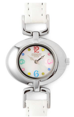MUSE&Co.(ミューズコー)ラウンド レディース クォーツ 腕時計【ホワイト×ホワイト/マルチ】