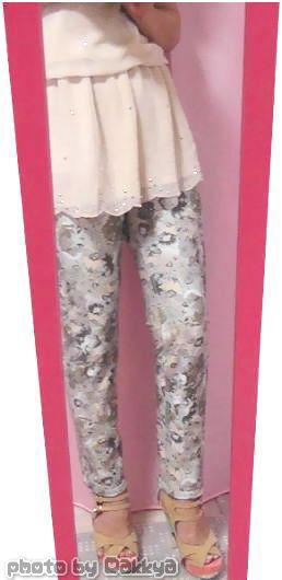 ストレッチパンツ通販レジネッタ【デニム柄&迷彩花柄プリント リバーシブルパンツ 】