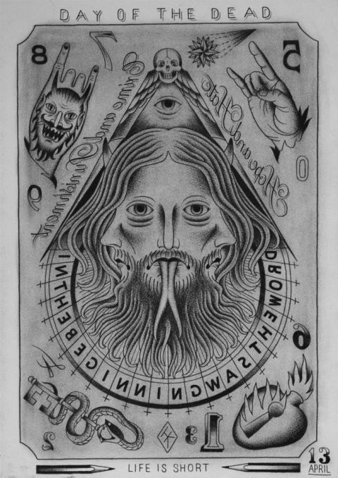 DAY OF THE DEAD IN THE BEGINNING WAS THE WORD-TRINITY LUCIFER FLASH