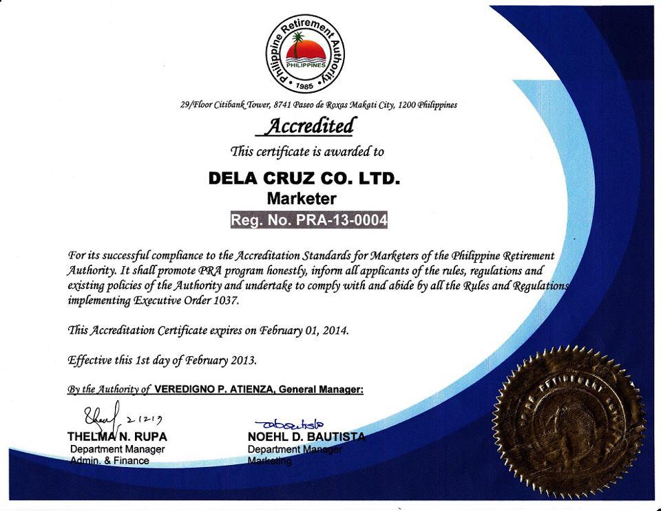 PRA certificate