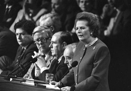 4月8日、「鉄の女」と呼ばれ、国営企業の民営化などで内外の保守派に影響を与えたマーガレット・サッチャー元英首相が脳卒中で死去した。1988年10月撮影2013年 ロイター