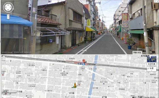 路上で刃物で男女2人が刺された大阪市生野区の事件現場