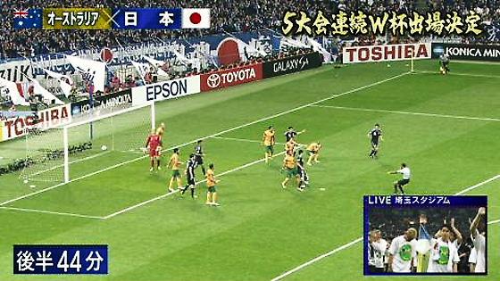 サムスン「GALAXY S4」の広告 (日本 対 オーストラリア、2013年6月4日)
