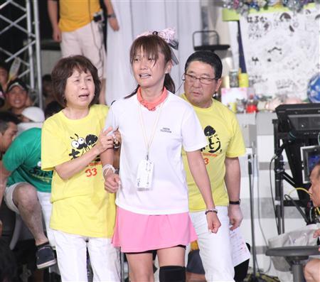 24時間テレビでチャリティーマラソンを完走したはるな愛=東京・日本武道館