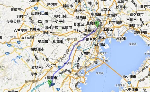 スタート地点は「藤沢市桐原町オイレス工業」だということだ。この地点はGoogleMAPでも検索可能