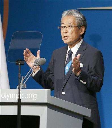 IOC総会で、東京のプレゼンテーションをする東京招致委の竹田恒和理事長=7日、ブエノスアイレス(共同)