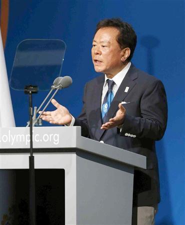 IOC総会で、東京のプレゼンテーションをする猪瀬直樹知事=7日、ブエノスアイレス(共同)