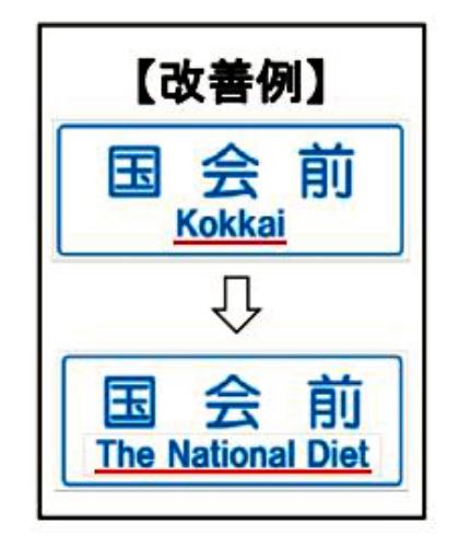 読めない標識「Kokkai」やめます 外国人から苦情