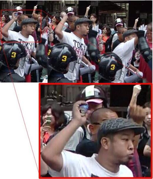 デモ隊に物を投げつけるしばき隊 反日暴徒がデモ隊を襲う