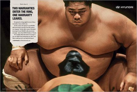 ヒュンダイ(現代自動車)が相撲力士の写真で広告キャンペーン