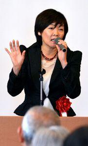 講演する安倍昭恵さん=下関市の下関マリンホテル 昭恵さん「何言われようが隣の国」 日韓交流への批判に