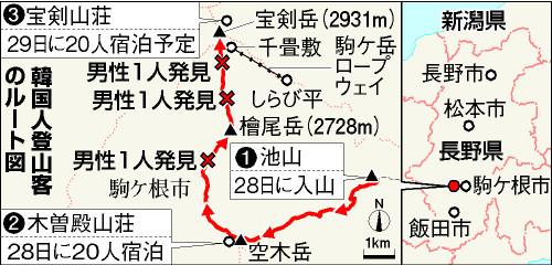 一行は28日に駒ケ根市から入山し、この日は空木(うつぎ)岳(2864メートル)を登山後、木曽殿山荘に宿泊した。29日は午前6時に出発し、檜尾岳から宝剣岳を経て宝剣山荘に向かう行程だった