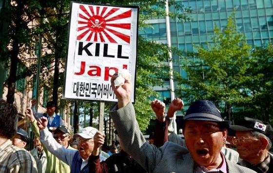 韓国の首都ソウルで韓国人が「KILL Jap!」(チョッパリ殺せ!=日本人を殺せ!)デモ