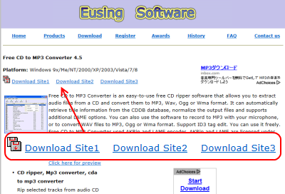 Free CD to MP3 Converter ダウンロードページ