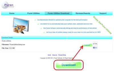 Puran Utilities ダウンロードページ