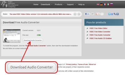 VSDC Free Audio Converter ダウンロードページ