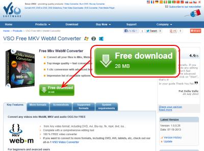 VSO Free MKV-WebM Converter ダウンロードページ