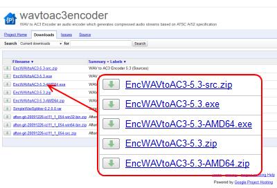 WAV to AC3 Encoder ダウンロードページ