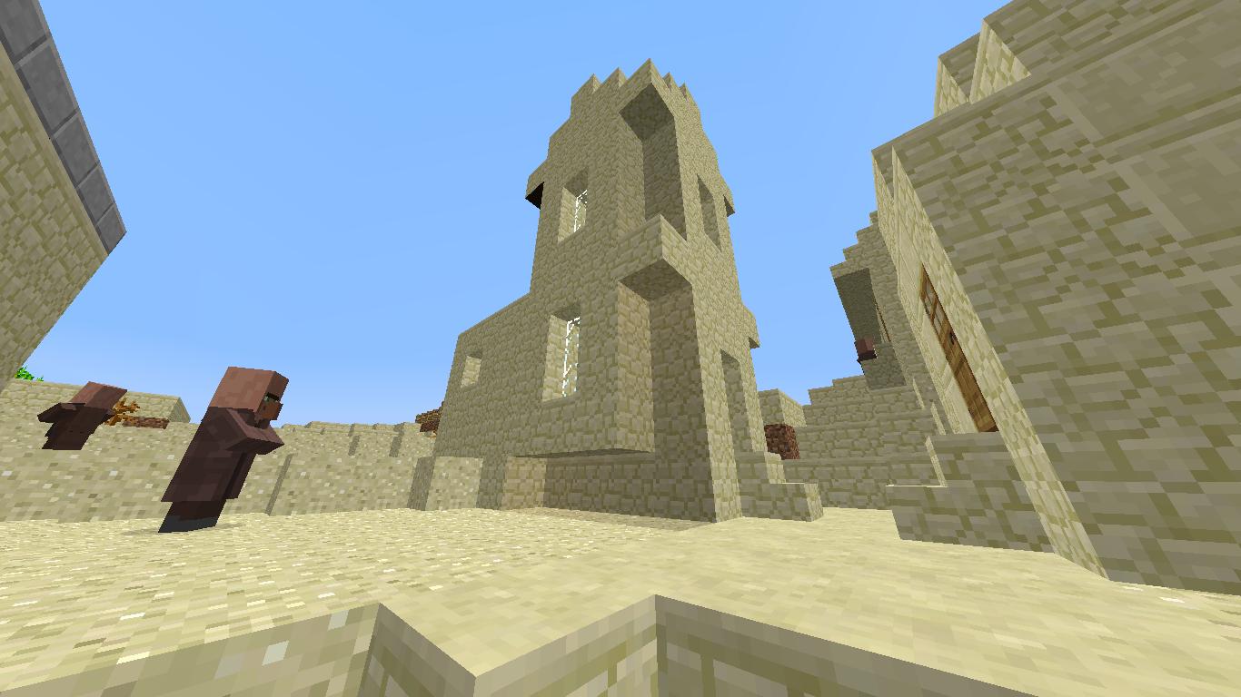このマップ初となる村を発見。砂岩で作られた建物は初めてみました! 教会やら鍛冶屋も砂岩ベース、基本同じ作りのはずなのに草原に出来る村とは違った建物に見えます