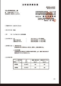 鉱泉分析法で実測検査結果