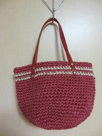 2013.09赤いしまバッグ