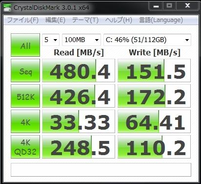 $株式会社i 社長日記-MousePro-NB511X-SSD ベンチマーク