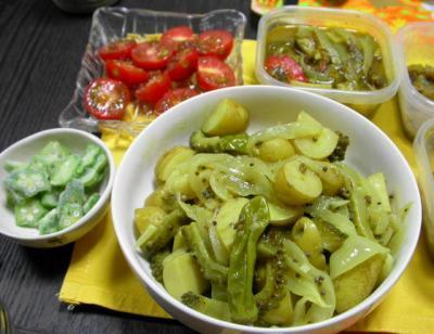 ジャガイモとゴーヤのサブジ&トマト他