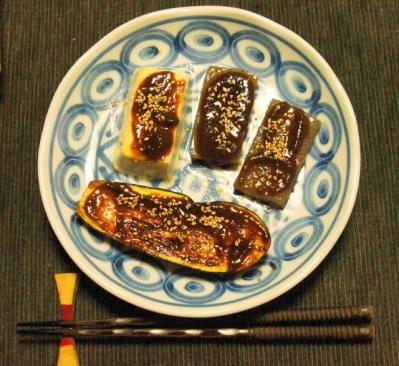 茄子・蒟蒻・豆腐 味噌田楽