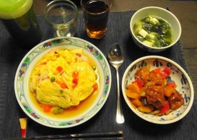酢鶏&天津飯