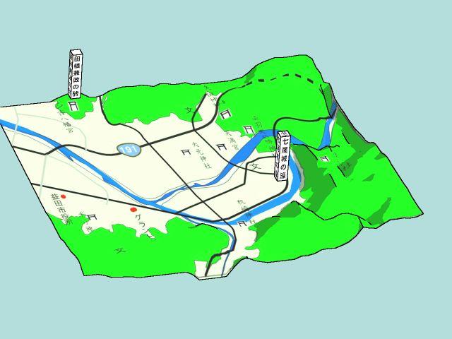 七尾城の二重濠(想像図)