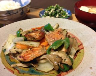 Oct23_鮭と野菜のバジル炒め