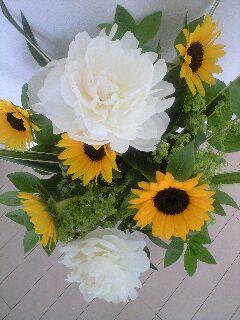 向日葵と芍薬