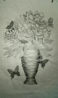 芍薬と蝶(紙に鉛筆)