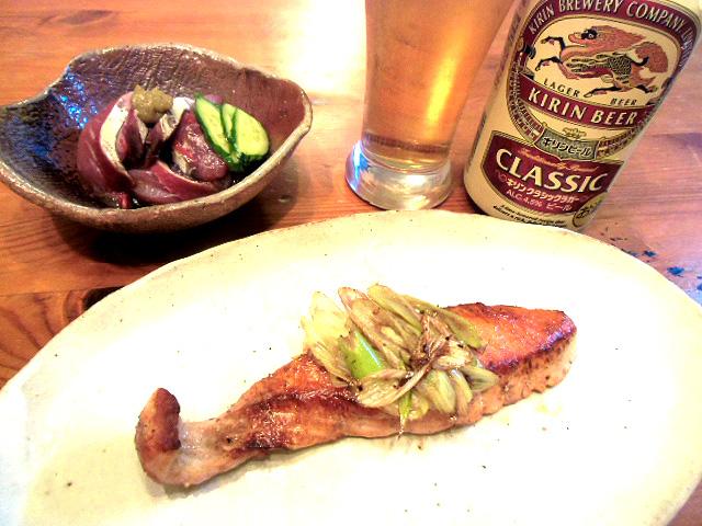 鮭の葱味噌焼き