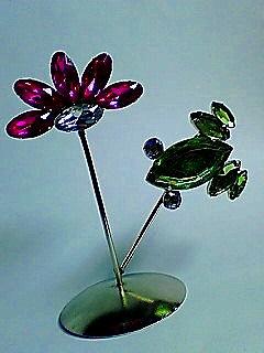 蛙と花メモスタンド